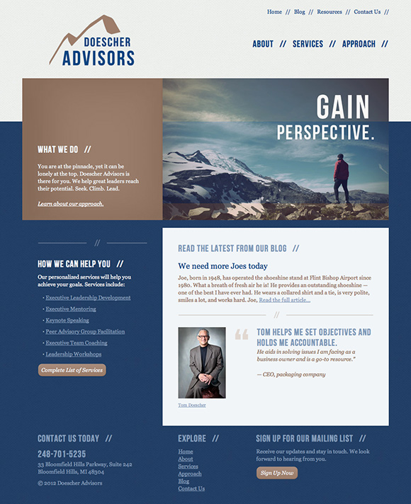 Doescher Advisors website home