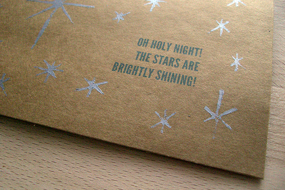 Oh Holy Night silver ink carved stamp Christmas Card