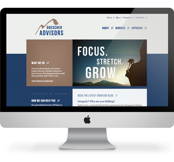 Doescher Advisors website website on a computer screen