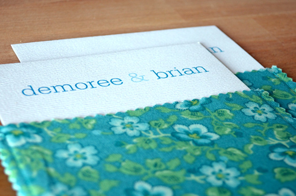 Blue and green fabric envelope wedding invitation